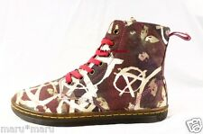 $115 New Womens Dr Martens Anarchy Hackney Boots Sz 10 Red/Brown canvas doc punk