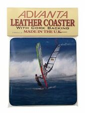 Wind Surfers Surfing Single Leather Photo Coaster Animal Breed Gift, SPO-WS3SC