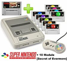 SUPER NINTENDO SNES KONSOLE + orig. CONTROLLER + 10 Module [Secret of Evermore]