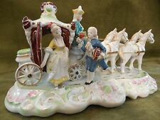 "Vintage WALES CHINA Large 12"" Porcelain Victorian Horse-Drawn Carriage Figurine"