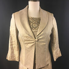 Mother of the Bride Groom Dress w/ Matching Jacket Size 6P Jessica Howard Gold