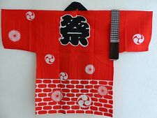 "Kids Kimono Happi Coat ""MATSURI"" Festival 24.5"" Length/Red / Made in Japan"