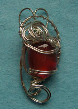 Hand crafted sterling silver pendant with Orange Aventurine