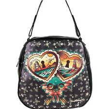 AUTHENTIC LUCKY 13 HEART LOCKS  SKULL  TRAVEL BAG PURSE MOTORCYCLE womens LADIES