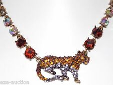 NEW RHINESTONE CRYSTAL JAGUAR TIGER GOLD CHOKER NECKLACE