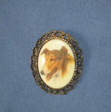 Vintage Gold-Tone Metal Painted China Lassie Collie Dog Pin Brooch