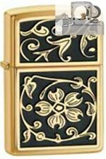 Zippo 20903 gold floural flush Lighter with PIPE INSERT PL