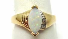 10K YELLOW GOLD MARQUISE OPAL AND DIAMOND RING