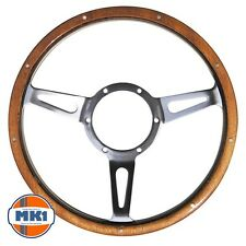 "Classic Car Traditional 13"" Riveted Light Wood Rim Steering Wheel Semi Dished"