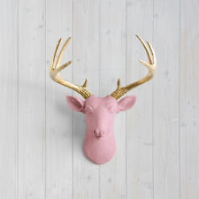 Wall Charmers Blossom Mini Deer + Gold Antler Pink Faux Head Fake Animal Resin