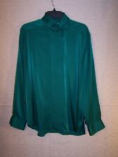 Talbots womens blouse size 18, long sleeve green silky buttoned shirt, 1980's