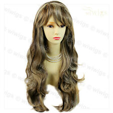 Wiwigs Beautiful Brown & Blonde Mix Long Layered Way Skin Top Ladies Wig