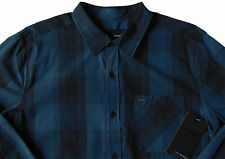 Mens HURLEY Tonal Blue Plaid Long Sleeve L/S Shirt XXL 2XL NWT Nice!