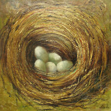 """Large Oil Painting of Still Life Eggs in a Nest Portrait Heavy Texture 30x30"""""""