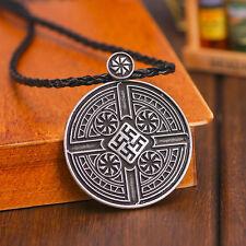 Slavic  Fern Flower Kolovrat Charm Norse Pendant necklace Valknut Odin Symbol