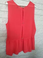 FOREVER 21 SHEER BUTTON SLEEVELESS BLOUSE  Size LARGE