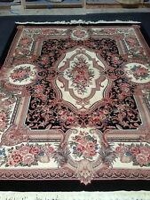 "Stunning Aubusson Chines Wool Hand Knotted Rug 10'1"" By 7'8"" With Fringes"