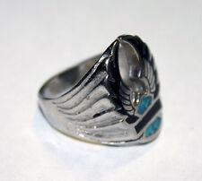 Vintage Harley Davidson Biker Silver Turquoise Eagle Ring Size 7,5