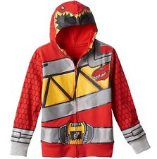 Power Rangers Dino Charge Hoodie NeW Boy's 7 Zip-Up Red Ranger Costume Jacket