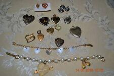 Lot of 15 Heart Shaped Vintage Jewelry, Lockets, Bracelets & 1 Oval Locket