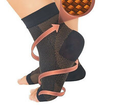 1Pair Compression Copper Fiber Foot Ankle Sleeve Relief Arch Heel Pain Socks