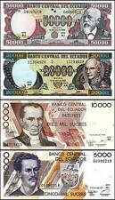 Ecuador 5000,10000,20000,50000 Sucres Unc Set 4 Pcs 12-7-1999 P 127 128 129 130