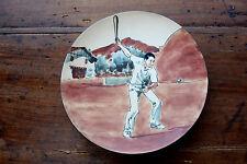 Assiette décorative   grès de Ciboure RF   joueur de pelote Basque   Signée