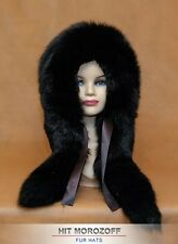 Black FOX Reversible Double Sided Fur Hat Eskimo Winter Schapka Fuchs Pelzmütze