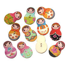 Pack of 20 Wood Buttons. Russian Doll Design 30 x 19mm Sewing Art  Free P&P
