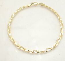 "10"" Braided Fox Tail Chain Ankle Bracelet Anklet Real Solid 10K Yellow Gold"