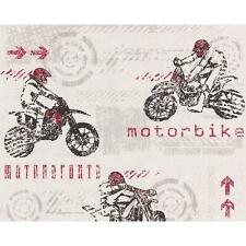 CREATION MOTOR BIKE PATTERN MOTORCROSS SPORT TEXTURED CHILDRENS WALLPAPER WHITE