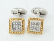 Gents Diamond Cufflinks Stunning Bi Metal 18ct Gold Formal Dress 750 V5