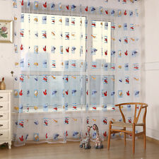 Cartoom Car Door Window Curtain Divider Sheer Voile Kid Room Nursery Panel Drape