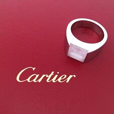 Cartier Pink Moonstone Tank Solitaire 18k White Gold Ring