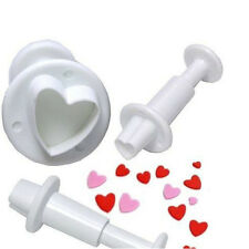 3Pcs Heart Fondant Cookies Sugar Paste Plunger Cutters Cake Mold Mould Tools New