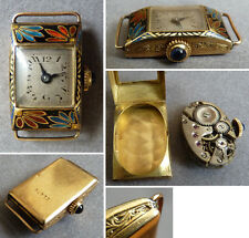 Montre bracelet femme OR massif email mécanique ART DECO enamel gold watch