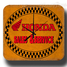 HONDA SALES SERVICE VINTAGE GARAGE WORKSHOP TIN SIGN WALL CLOCK