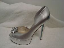"Betsey Johnson ""Honor"" Leather high heel Pump silver metallic 6m"