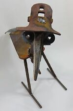 "Scrap Metal Yard Art BIRD With HAT 16 1/2""   Statue Lawn Ornament Handcrafted"