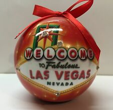 Las Vegas Sign Christmas Tree Ball Ornament Holiday LED Light Up Hanging Red