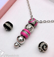 Henley Hot Pink, Silver & Black Bead Necklace, Interchangeable Beads, New in Box