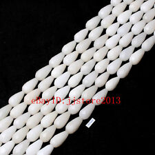 10x20mm Natural Faceted White Jade Drop Shape Gemstone Loose Beads Strand 15""