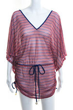 Luli Fama MultiColor Loose Fit Gold Tone Ruched Mesh Tunic Dress Size Medium New