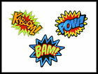 BAM POW KABOOM Batman Superman Embroidered Sew Iron On Shirt Jeans Badge Patch