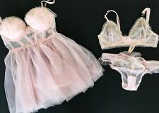 34 B Victoria''s Secret Dream Angels Unlined Plunge + Babydoll   3pc bridal set