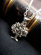 Silver Tree of Life Pendant Necklace Sacred Oak Wicca Pagan Gothic Leaf Charm