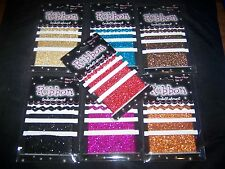 "7 PACKS 2 STYLES 3 WIDTHS 7 COLOURS GLITTER RIBBON EACH 12"" LONG NEW"