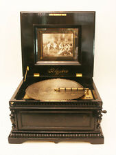 ORIGINAL BLACK POLISHED  DE LUXE POLYPHON 15,5 INCH ANTIQUE DISC MUSIC BOX