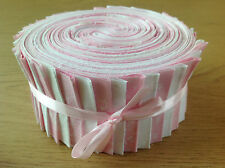 JELLY ROLL STRIPS 100% COTTON PATCHWORK FABRIC PINK / WHITE 40 PIECES