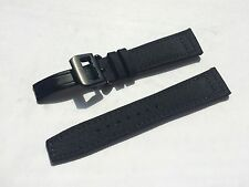 21mm Nylon Leather Watch Band Strap for iwc pilot & 18mm deployment clasp black
